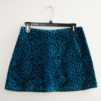 Fuzzy Leopard Print Blue Mini Skirt
