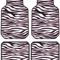 White Zebra Animal Print Safari w/ Black Stripes & Pink Trim Front & Rear Car Truck SUV Seat PlastiClear Floor Mats