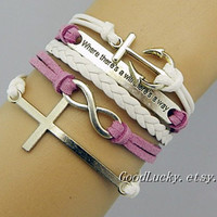 Hipsters jewelry,white,purple leather bracelet,cross,Infinity,Anchor bracelet,Self-improvement Bracelet,Where there's a will there's a way