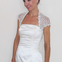 Weddings Shrugs Boleros Weddings Bridal Accessories lace crochet ivory shrug
