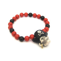 Pirate Skull Bracelet with Swarovski Crystal by SassyBelleWares