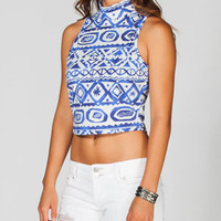 FULL TILT Ethnic Print Womens Mock Neck Top