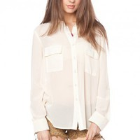 Signature Chiffon Blouse in Ivory - ShopSosie.com