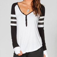Fox Prestigious Womens Henley Tee Black/White  In Sizes