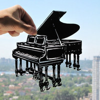 Grand Piano Handmade Original Papercut Gift: Hand-Cut Paper Art Silhouette (UNFRAMED)