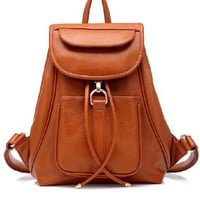 Elegant PU Leather Backpack in Brown