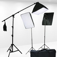 Fancierstudio 2400 Watt Lighting Kit Video Lighting Kit With Hairlight Boom StandBy Fancierstudio 9004SB2