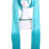 HealthTop 100-105cm Blue Long Straight Hatsune Miku Vocaloid Cosplay Hair Wig