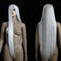 Long White Hair Brand New Heat Resistance Cosplay Costume Wig Anime Show & Party Wig& Performance Hair Full Wigs