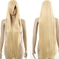 HealthTop Chobits Chii Long Flaxen Straight Blonde Brand New Heat Resistance Cosplay Wig Anime Show & Party Wig& Performance Hair Full Wigs