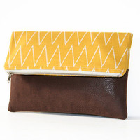 chevron and vegan leather foldover clutch purse / mustard brown / faux leather / spring summer fashion