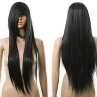 Black Long Straight Smooth Womens Heat Resistance Cosplay Wig Anime Show & Party & Performance Hair Full Wigs