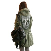 Korea Womens Punk Skull Head Hooded Coat Rain Trench Outerwear Jacket