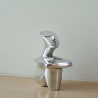 Sitting figure sculpture, minimal aluminum sculpture, Greek Museum copy Cycladic figure, silver coloured modern metal figure