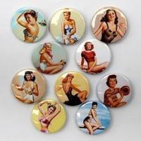 Pin Up Girls Magnets Set of 10 by theangryrobot