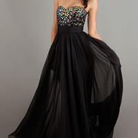 Long Black Strapless Sweetheart Dress
