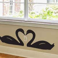 Swans in Love Wall Decal - Animal Vinyl Love Decor