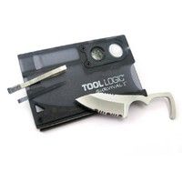 Tool Logic SVC1 Survival Card Tool With 1/2 Serrated Knife, Fire Starter, Whistle, Compass and Lens, Translucent Black
