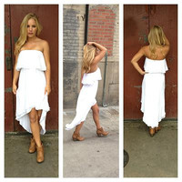 White Hi Lo Strapless Dress