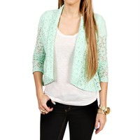 SALE-Mint Lace Open Front Jacket