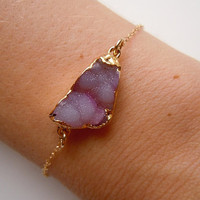Druzy Bracelet in Pink by 443Jewelry on Etsy