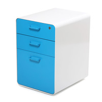 White + Pool Blue West 18th File Cabinet