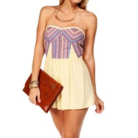 Yellow Strapless Embroidered Romper