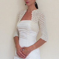 Wedding SHRUG BRIDAL BOLERO Jacket /Crochet Lace Shrugs Boleros for Bridesmaids