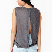Twist Open Muscle Tee - Charcoal
