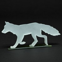 Frosted Fox Glass Sculpture
