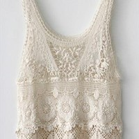 Prevent bask in hook knitted blouse sleeveless vest from Fanewant