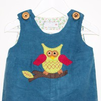 Handmade - Hooting Around Owl Playsuit - Custom Sized 6m To 3 Years