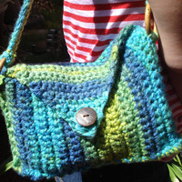 Crochet purse  green and blue - summer - small purse - bamboo rings - OOAK - Back to school - CIJ - womens purse -shoulder bag - kids purse