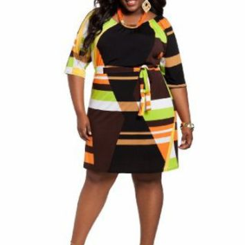 Ashley Stewart Women's Plus Size Geometric Print Peasant Dress Multi 22