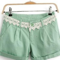 Pea Green Lace Waist Rompers For Her
