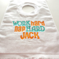 Funny Duck Dynasty Bib Boy or Girl Work Hard Nap Hard Jack