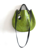 leather  basket bag ,Cross-body -  Green Apple