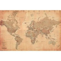 World Map (Vintage Style) Art Poster Print - 24x36 Poster Print, 36x24 Collections Poster Print, 36x24