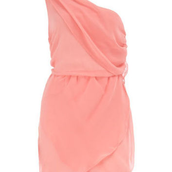 Pink one shoulder dress - Party Dresses - Dresses - Dorothy Perkins