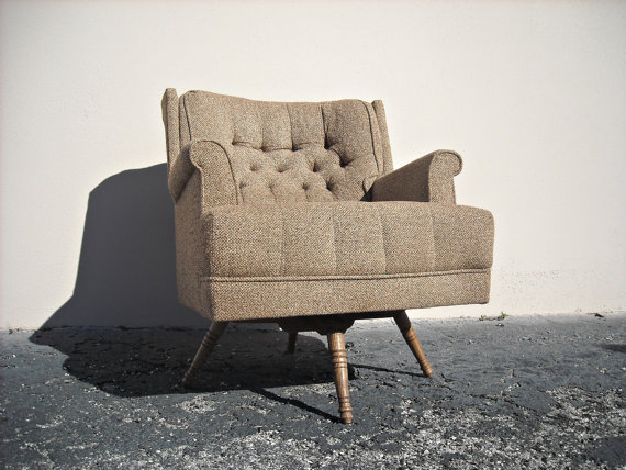 Mid Century Swivel Rocker Rocking Chair by jojosvintagecupboard
