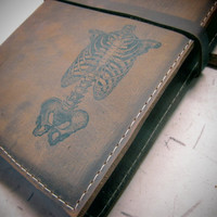 large leather journal sketchbook custom handprinted for you skeleton