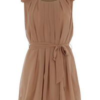 Taupe ruffle shoulder dress - View All - Dresses - Dorothy Perkins