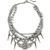 Let Them Eat Cake Crystal & Pearl Necklace W/ Spike Charms -Silver/White