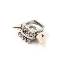 Metal Luxe Set of 3 Crystal & Spikes Rings - Rhodium & Rose Gold W/Vintage Rose