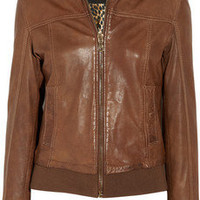 D&amp;G|Leather bomber jacket|NET-A-PORTER.COM