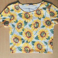 sun flower crop top tee t-shirt