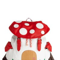 ModCloth Kawaii, Mushrooms, Travel, Quirky, Scholastic Fungi House Backpack