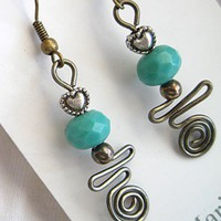Turquoise Beads and Hearts with gunmetal wire Wrapped Dangle Earrings | MDavisDesigns - Jewelry on ArtFire
