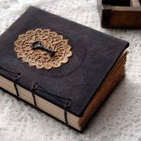 Remember - Dark Brown Leather Journal, Coptic Stitched, Hand Dyed Lace, Tea Stained Pages & Tiny Vintage Key, OOAK