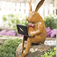Recycled Metal Laptop Rabbit Yard And Garden Sculpture - Plow & Hearth